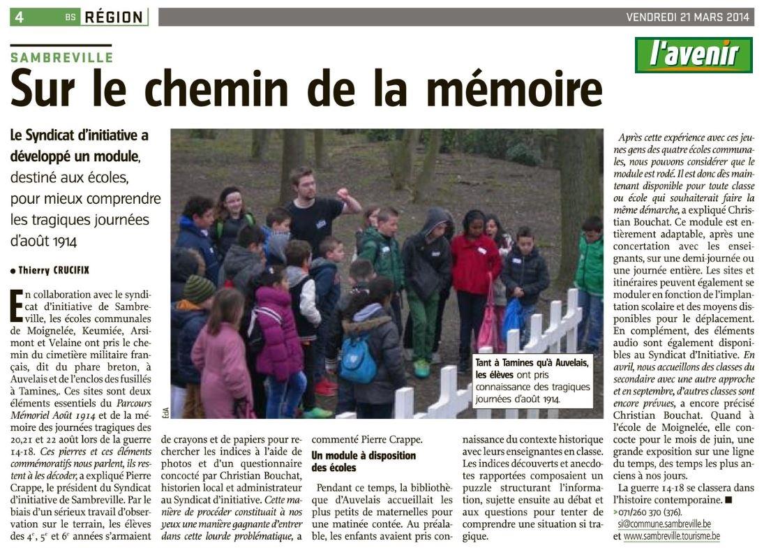L'Avenir du 21/03/2014